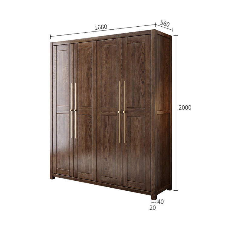 factory price bedroom hot sale ins novel creative special walnut color 2 drawers inside high quality solid wood wardrobe