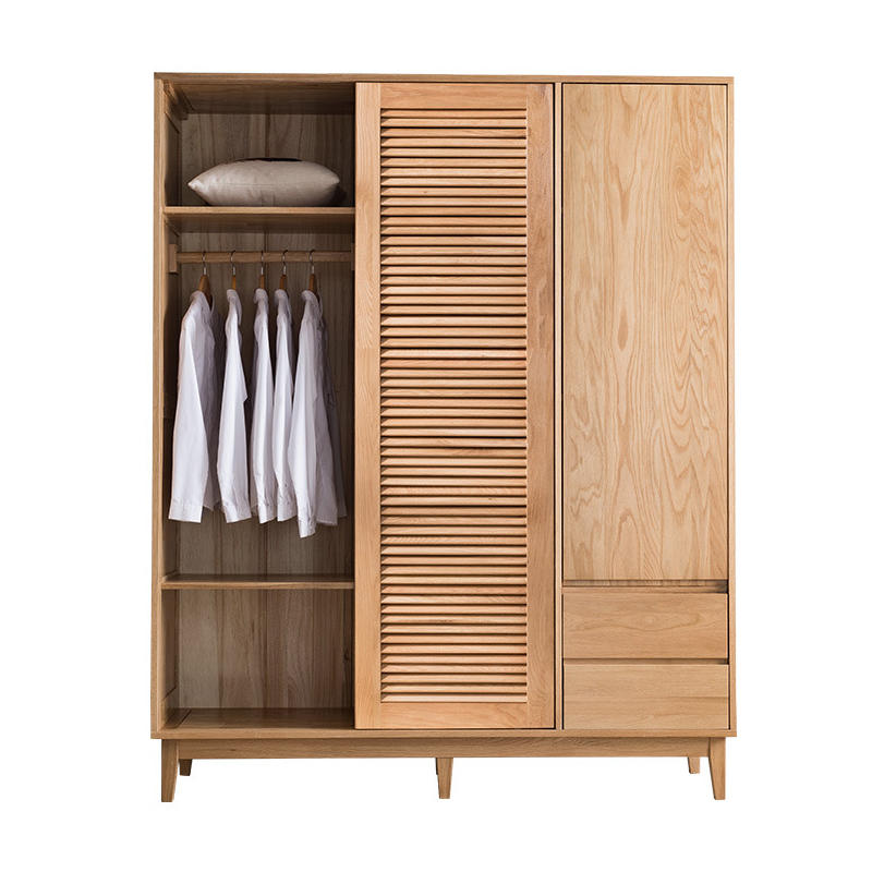 Louver ins modern simple special price useful 2 internal structures to choose from solid wood wardrobe with drawer furniture