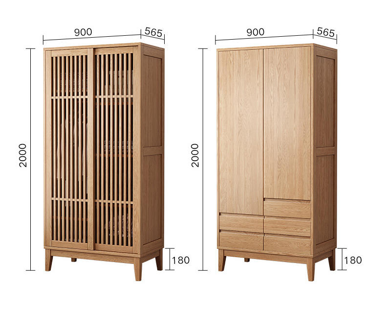 Individuality customizable new designs popular hot sales 2 doors to choose from solid wood wardrobe home bedroom furniture
