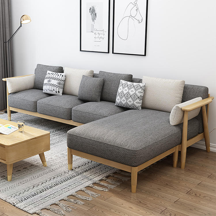 skeleton wooden nordic reclining sofa sectional luxury sofa modern furniture l shape exclusive fabric bistro high class seating