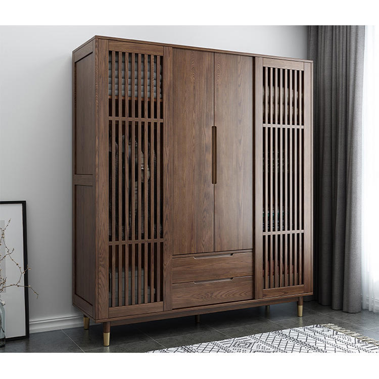 Elegant custom upscale high quality multiple Hollow door large capacity 4 door soild wood wardrobe for clothes storage