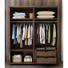 Cunstomizable cheap new deign walnut color 2 door morden soild wood sliding wardrobe by using white oak for bedroom