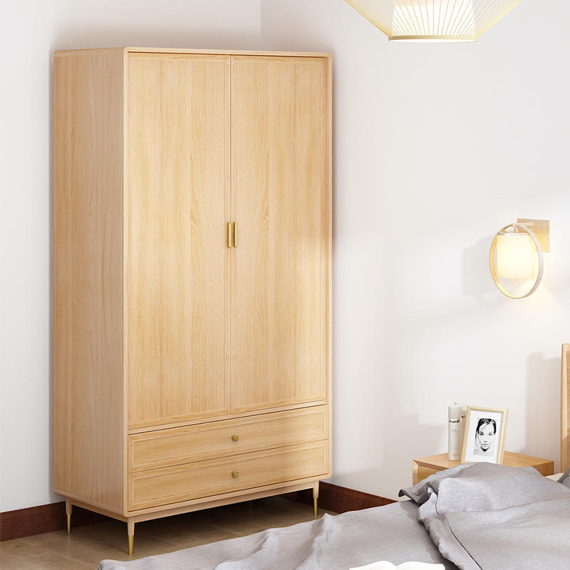 Customizable luxury portable 2 door solid wooden wardrobe with 2 cabinet where clothes can be folded and put freely