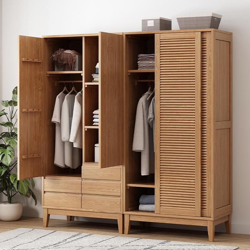 Customizablemorden large space practical Shutter door high cupboard soild wood wardrobe with 2 doors for bedroom furniture