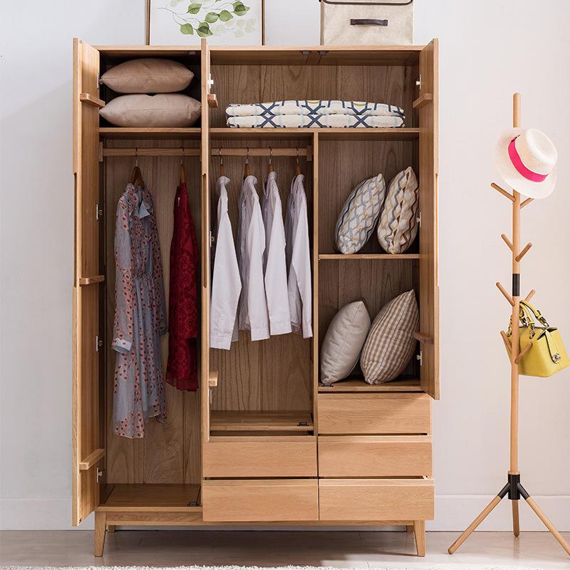 Family Special Offer custom bedroom furniture soild wood morden latest design High-capacity 3 door wardrobe with solid wood door