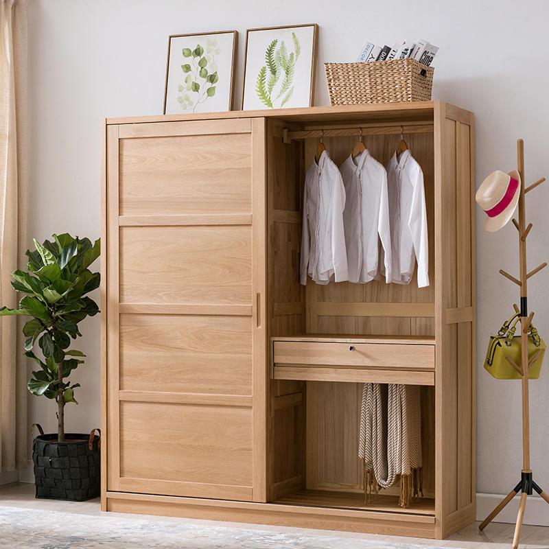 Natural wood color custom bedroom furniture soild wooden morden unique design European storage clothes wardrobe with wood door
