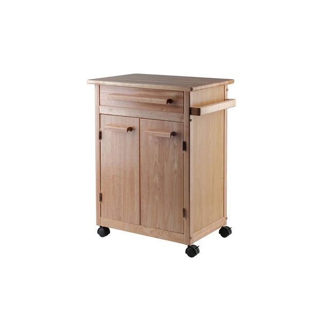 Wood Single Drawer Kitchen Cabinet Storage Cart Rolling Kitchen Island Natural