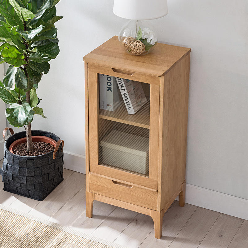 Hot sale modern custom simple design low wooden wine rack cabinet with glass door and drawer wine cabinet for kitchen furniture