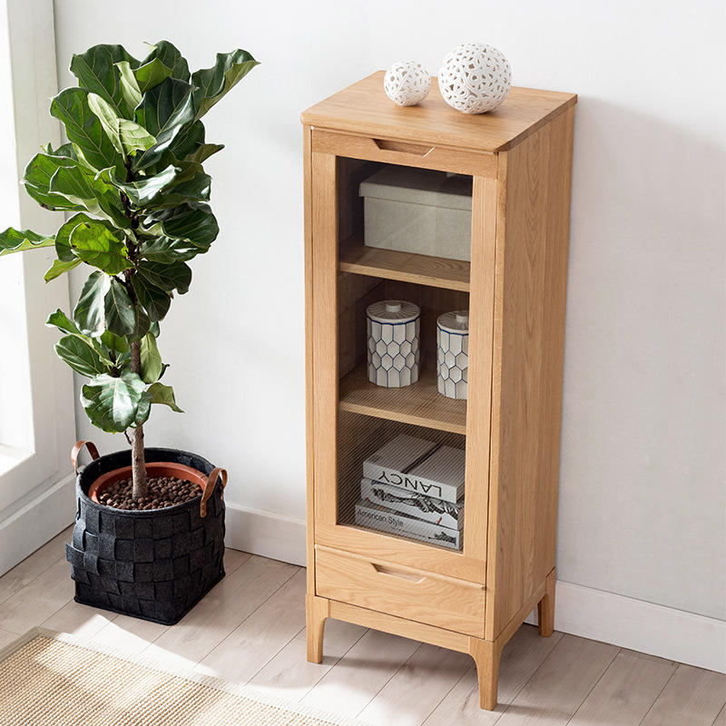 Dining room special price fine workmanship high quality high-end durable modern design white oak wood solid wood wine cabinet