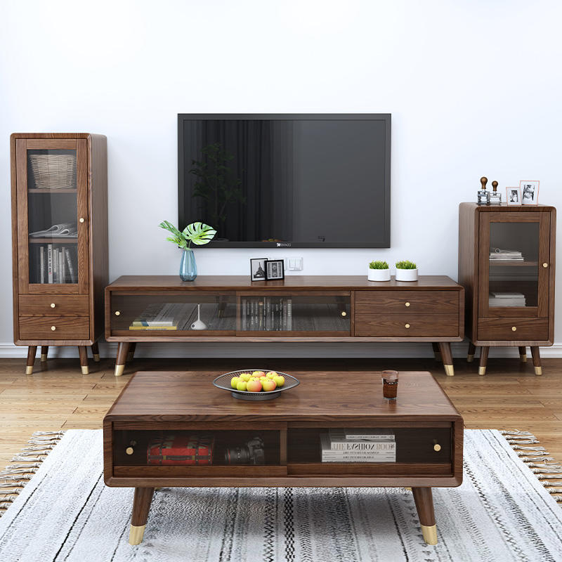 Factory sales hot sale white ash newly design walnut color natural copper feet solid wood wine cabinet wholesale retail