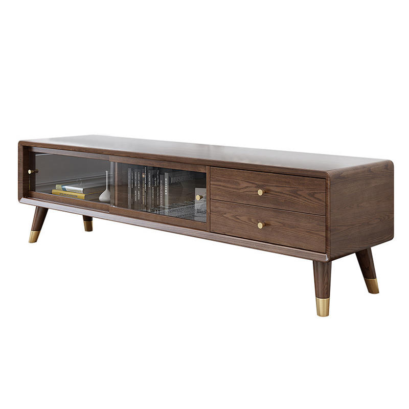 TV cabinet modern wood living room furniture simple wall wooden tv stand cabinet with glass doors and drawers wood table for tv