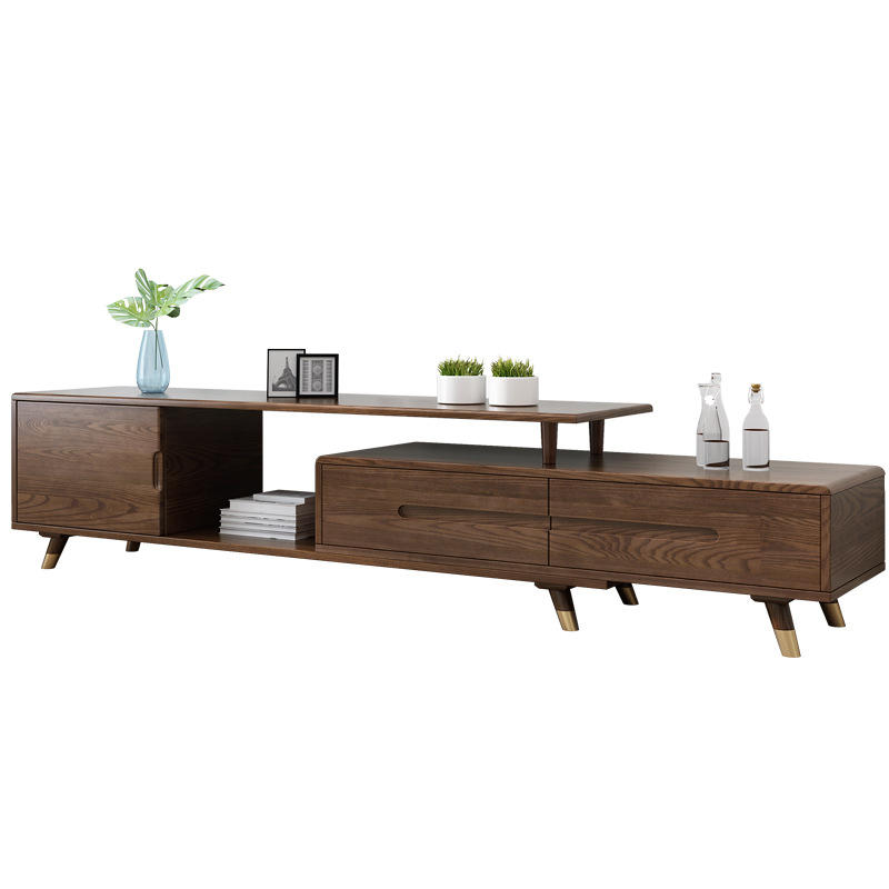 Modern wooden tv stand furniture extendable real wood tv cabinet designs for living room gold brass wooden tv table for bedroom