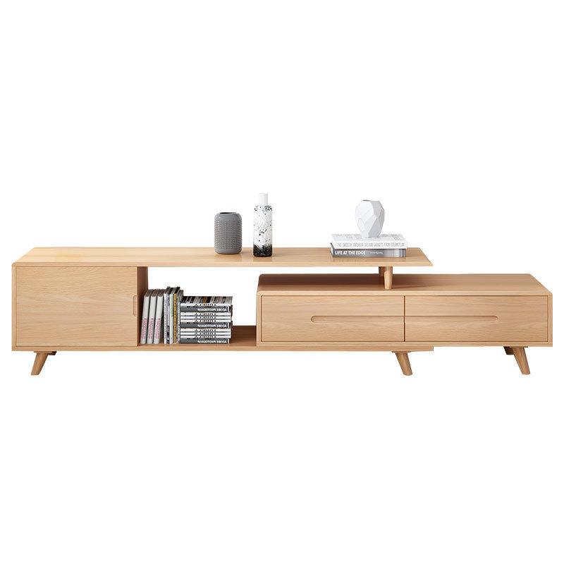 Hot sale tv cabinet modern wooden tv stand retractable wooden tv cabinet table extendable with 2 drawers living room furniture