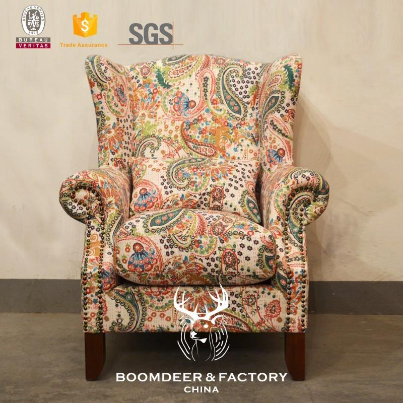 Boomdeer American Style Classic Arm Chairs Country Style Flower Antique Fabric Furniture Living Room Fabric Single Sofa