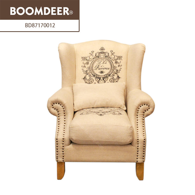 Boomdeer antique living room home furniture relaxing soft single sofa