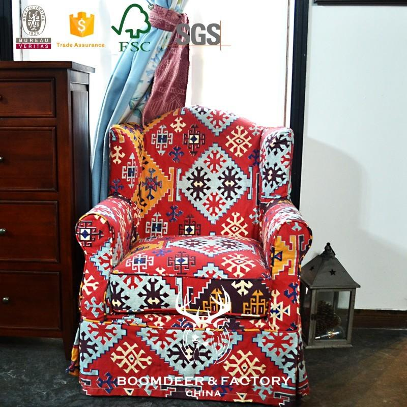 The national style sitting room of country of sitting room furniture art sofa and design with patternprint fabric
