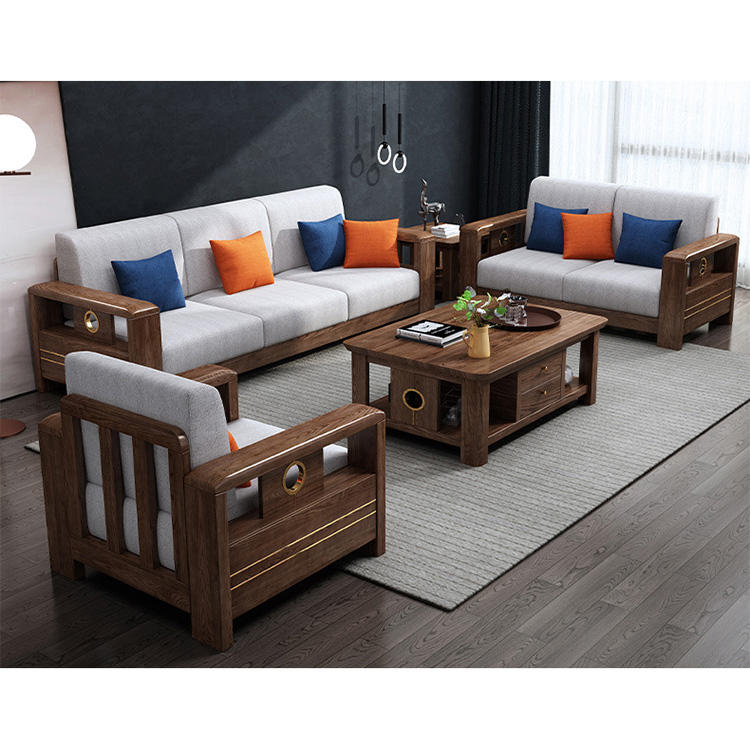Wholesale of manufacturers latest cheap small spaces fabric living room sofa solid white ash wood sofa for sitting room