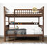 High quality kids bedroom children wooden bunk bed with stairs and bookshelf walnut wood bed 2 layer for children room