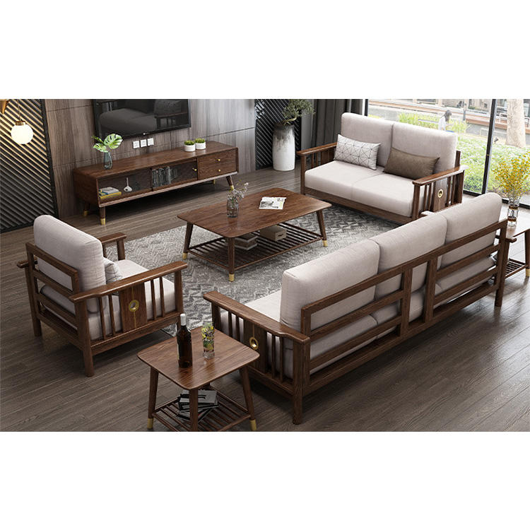 China direct deal i shape custom furniture cozy walnut color fabric soild wooden solideliving room sofa