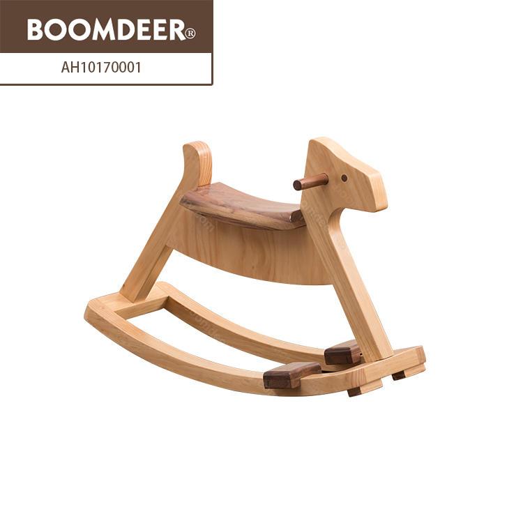 Home goods kids natural wood children furniture baby Wooden Rocking Horse