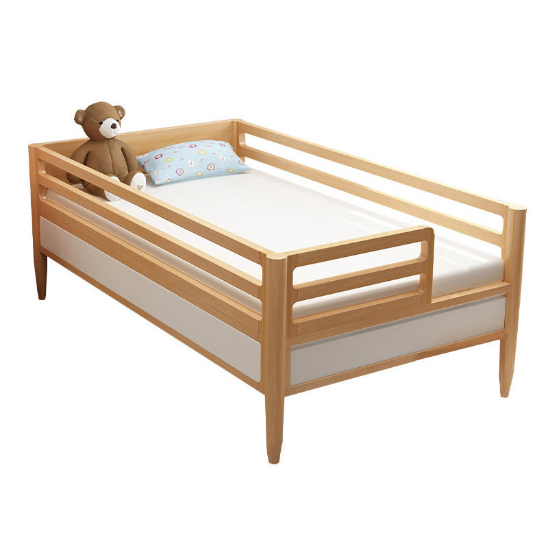 Solid stable oak wood kids cot bed for wooden bedroom furniture