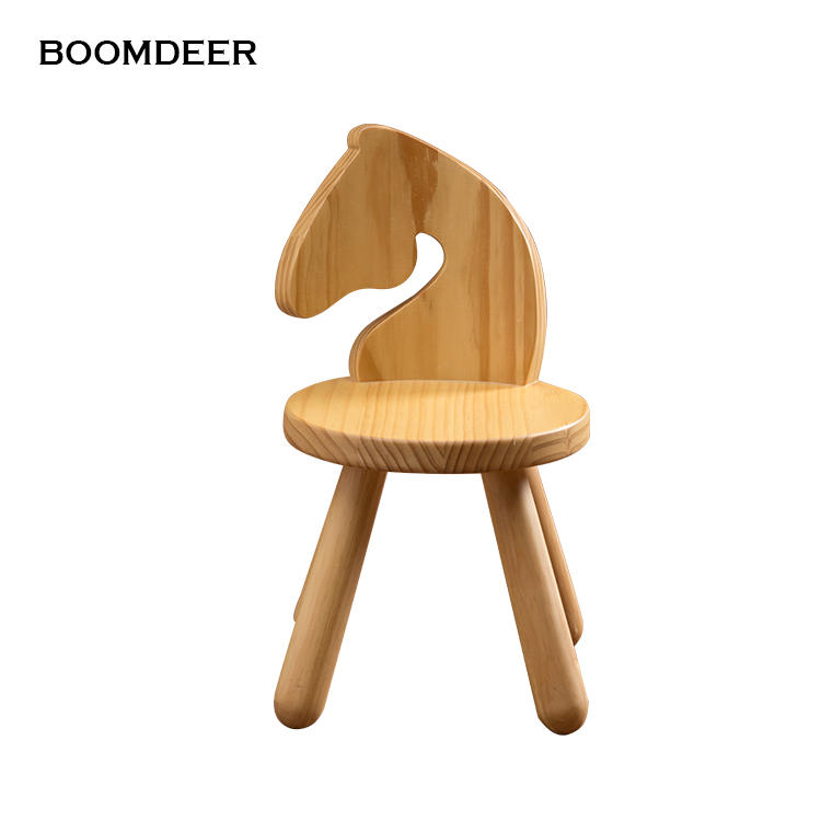 Hot selling animal simple wooden seat kid stoolbaby chair Solid Furniture Set