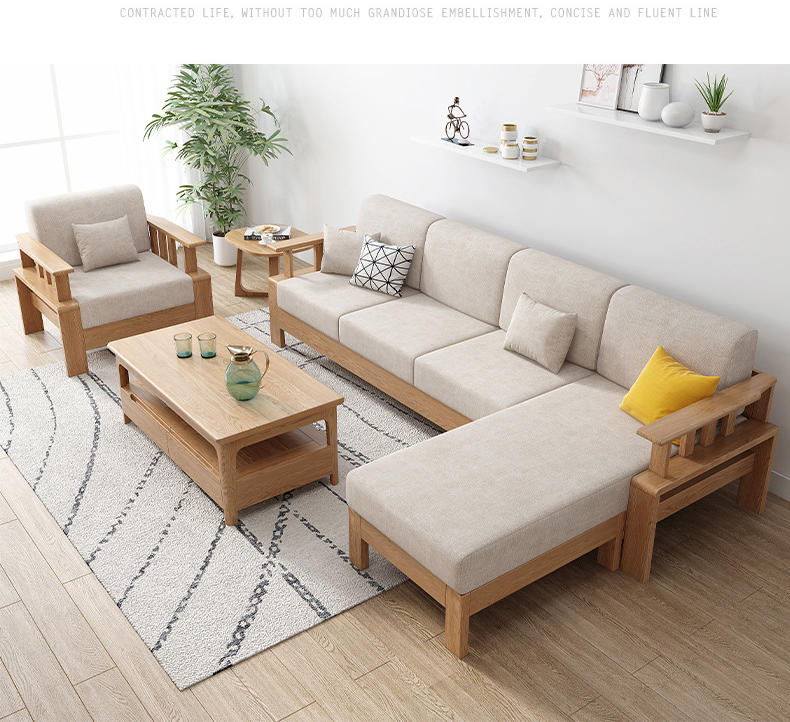solid wood frame design sofa furniture leisure affordable exclusive small apartment nordic living room sofa red and black