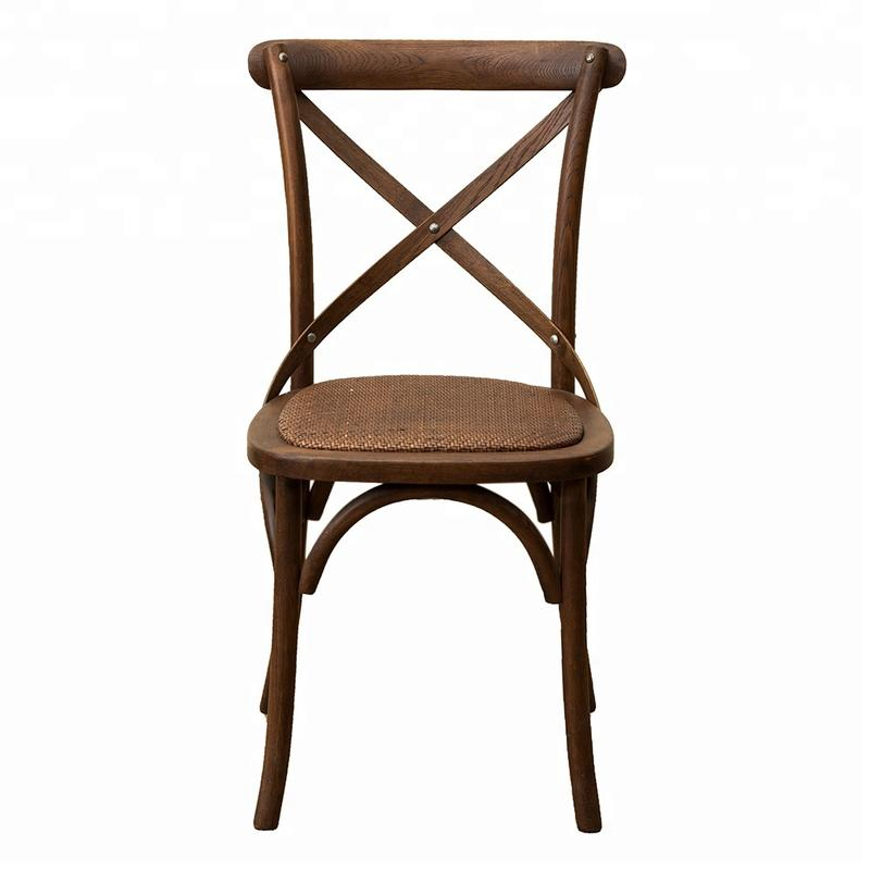 Back Cross Restaurant Wooden Room French Upholstered Furniture Antique Cheap Wholesale High Wood Design Dining Chair