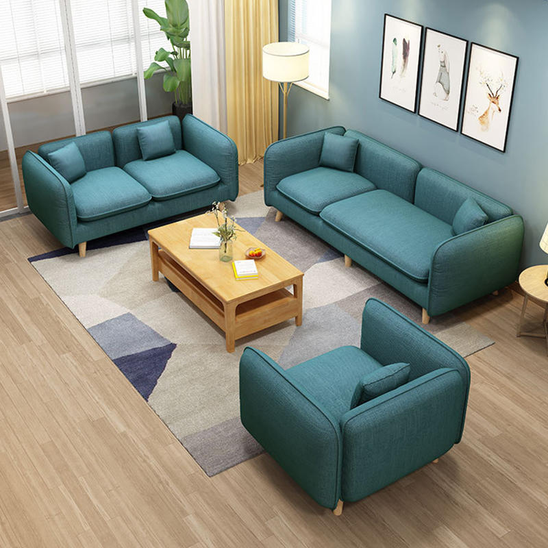 Modern Living Room Furniture Wooden Frame Leisure Fabric Sofa Nordic Style Modern Solid Wood Couch 4 3 2 1 seater fair price new