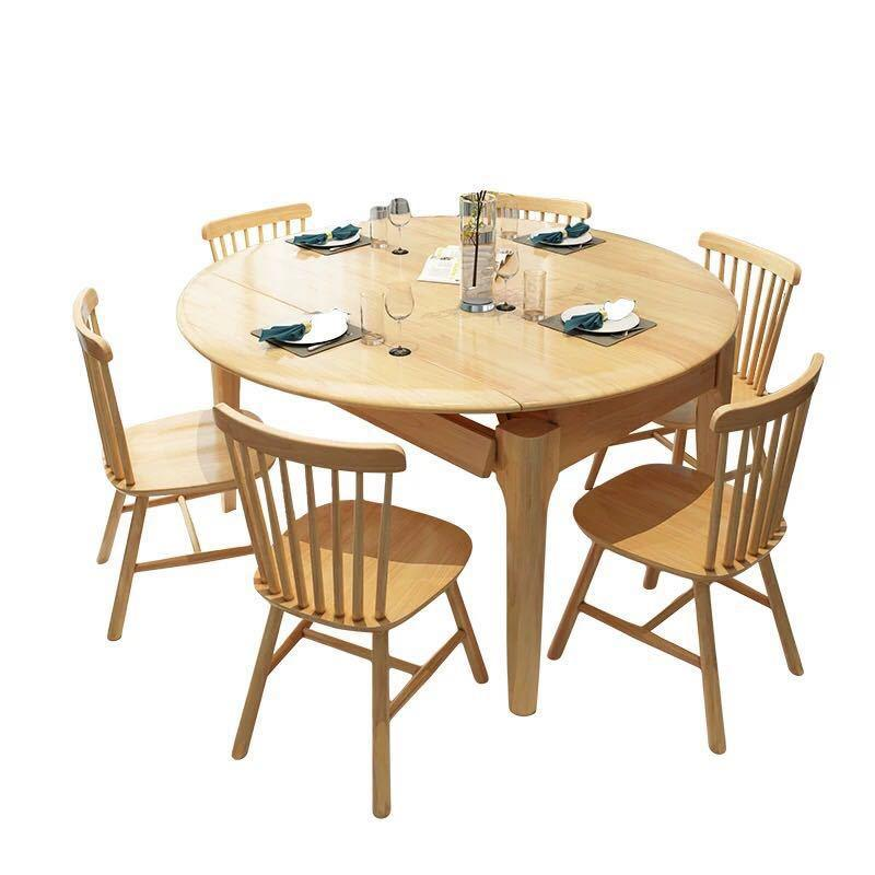Customizable multifunctional space saving home furniture round square table soild wooden dining table