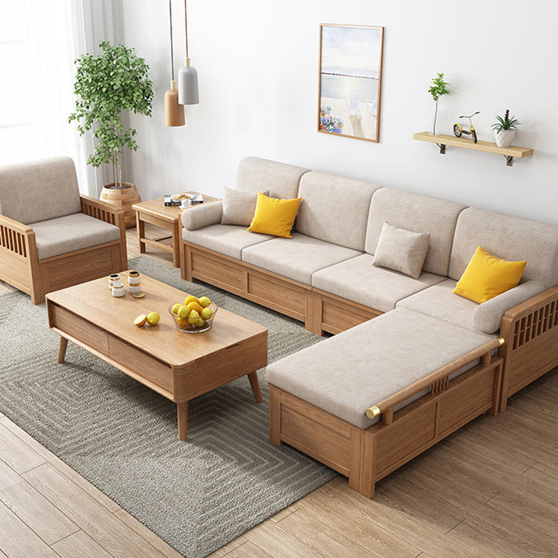 Morden designer luxury 4 seater soild wooden fabric sofa couch living room furniture with Imperial concubine's couch