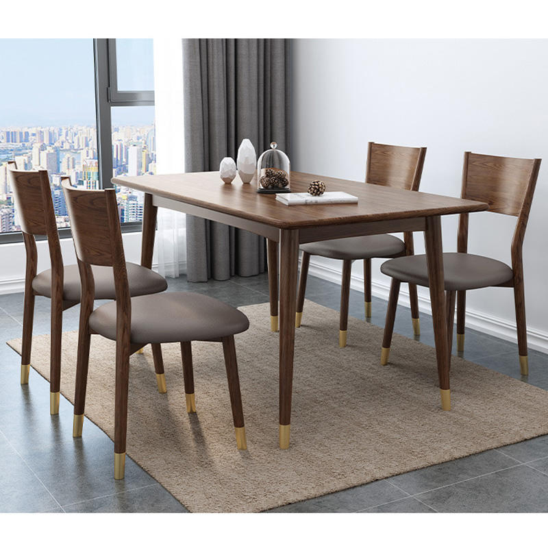 Nordic simple design OEM supported elegant wood dinner table brass wooden table for dining room furniture