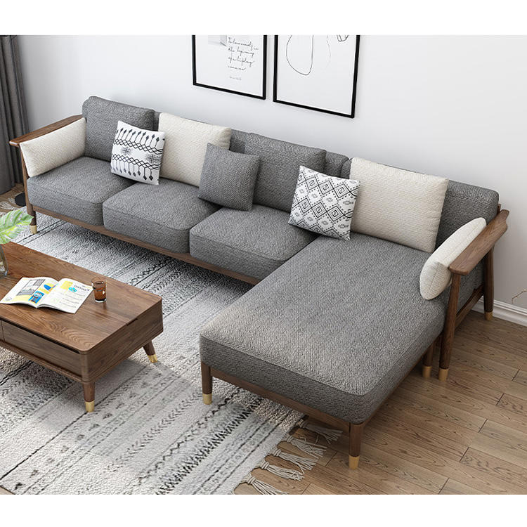 sofa set living room furniture walnut color wooden sofawith copper foot modernwood frame andfabric simple sofa sectional
