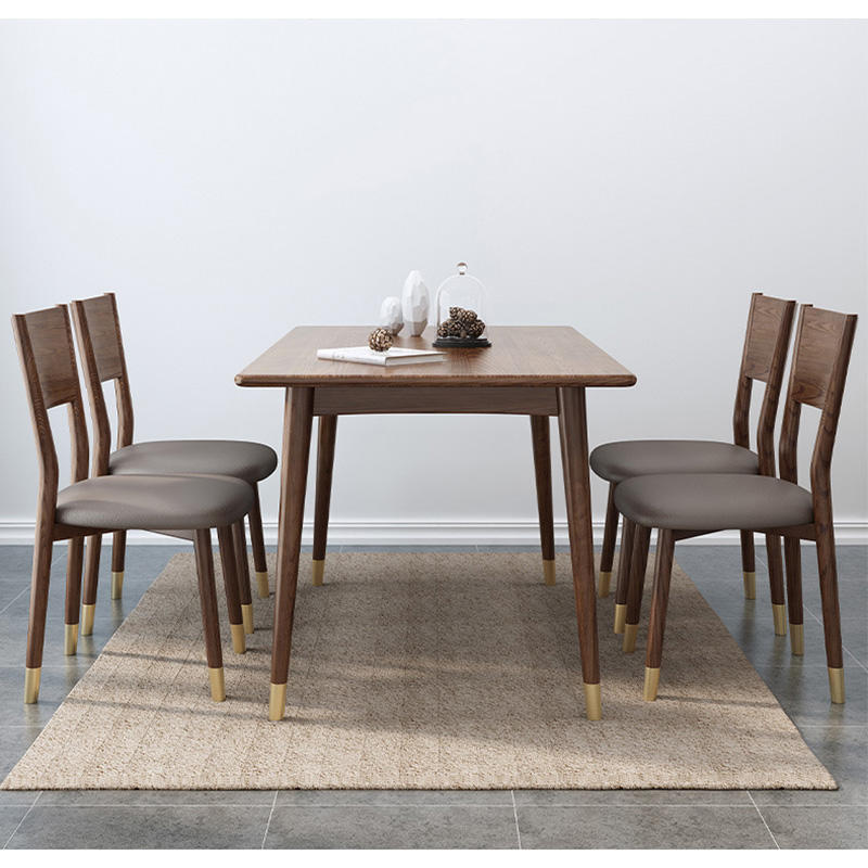 Modern design latest 4 seater wooden dining table with brass feet luxury wood buffet table for home