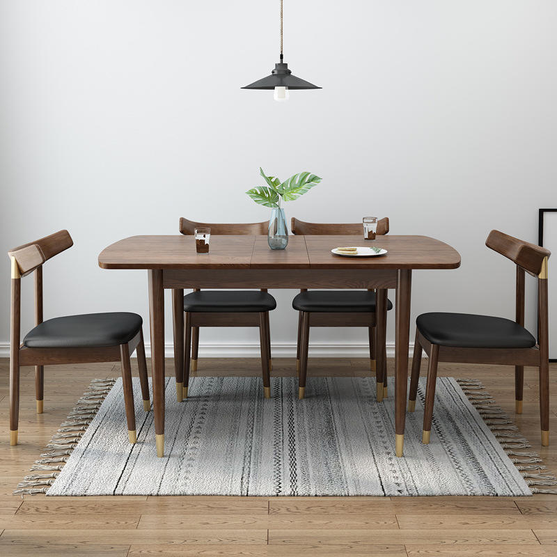 Extendable kitchen dinner table wood dining room furniture natural walnut wood dining table 4 seater