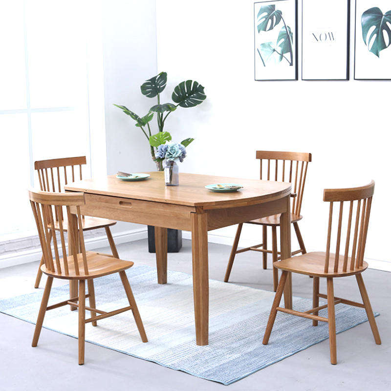 2020 modern customized home furniture solid wooden dinner table extendable wood dining table adjustable design for dining room