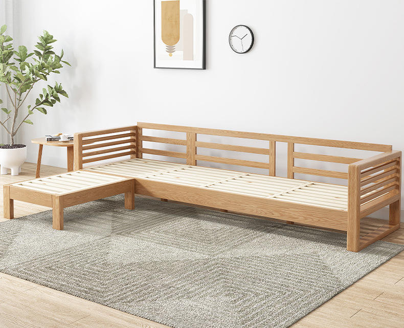 sofa set living room furniture solid wood l shaped wooden sofa modernwood frame fabric simple sofaoak woodsectional