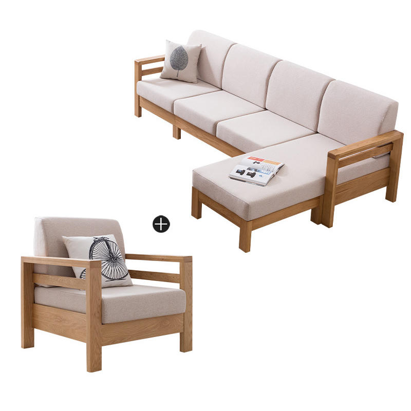 living room furniture solid wood l shaped wooden sofa set modern exposed wood frame fabric sofaoak woodsectional