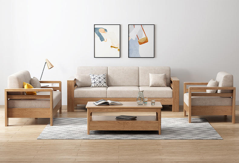 living room furniture four seats sofa wood designs exposed wood frame fabric sofa modern oak woodsectional