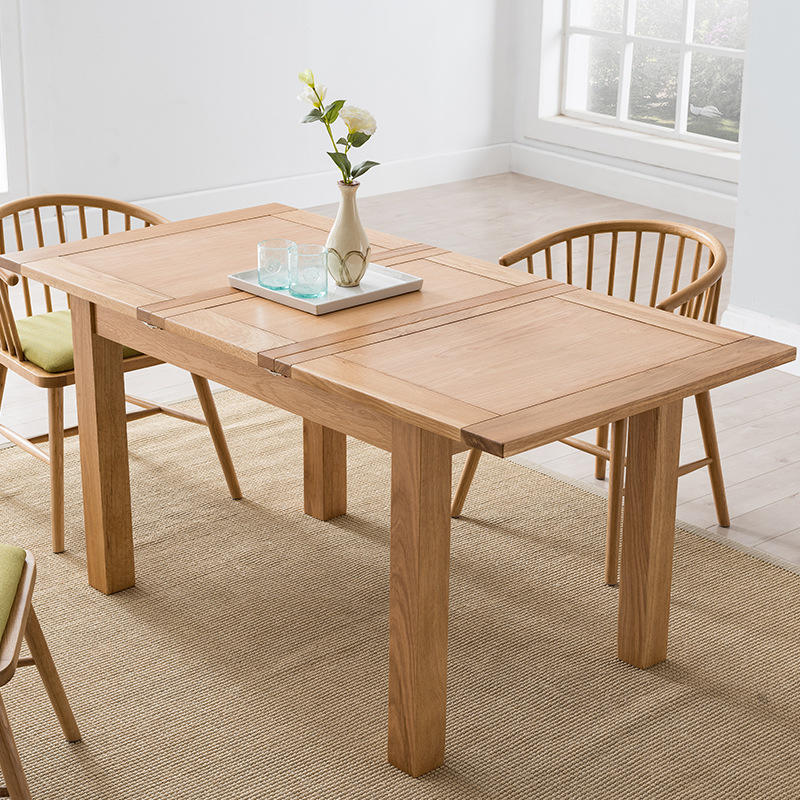 white ash hot simple space saving wood natural color Expansion square soild wooden dining table for the dining room