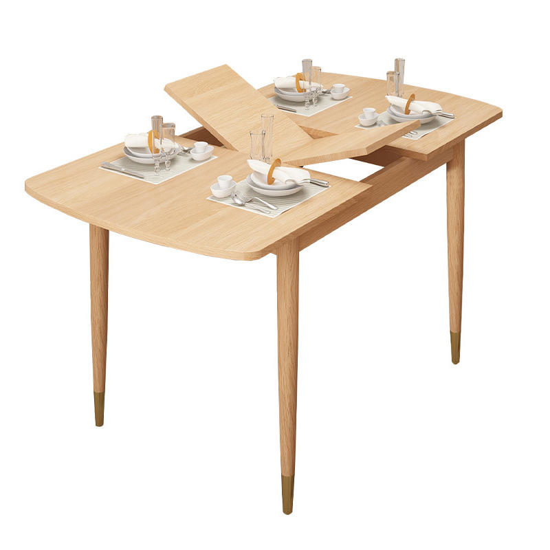 Copper feet telescopic individuality natural customizable lounge durable hot sale flexible solid wood dining table restaurant