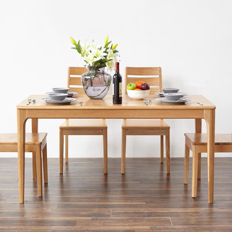 Classic Dining Furniture Solid Osk Wood Frame Rectangular Long Dining TableFor Restaurant