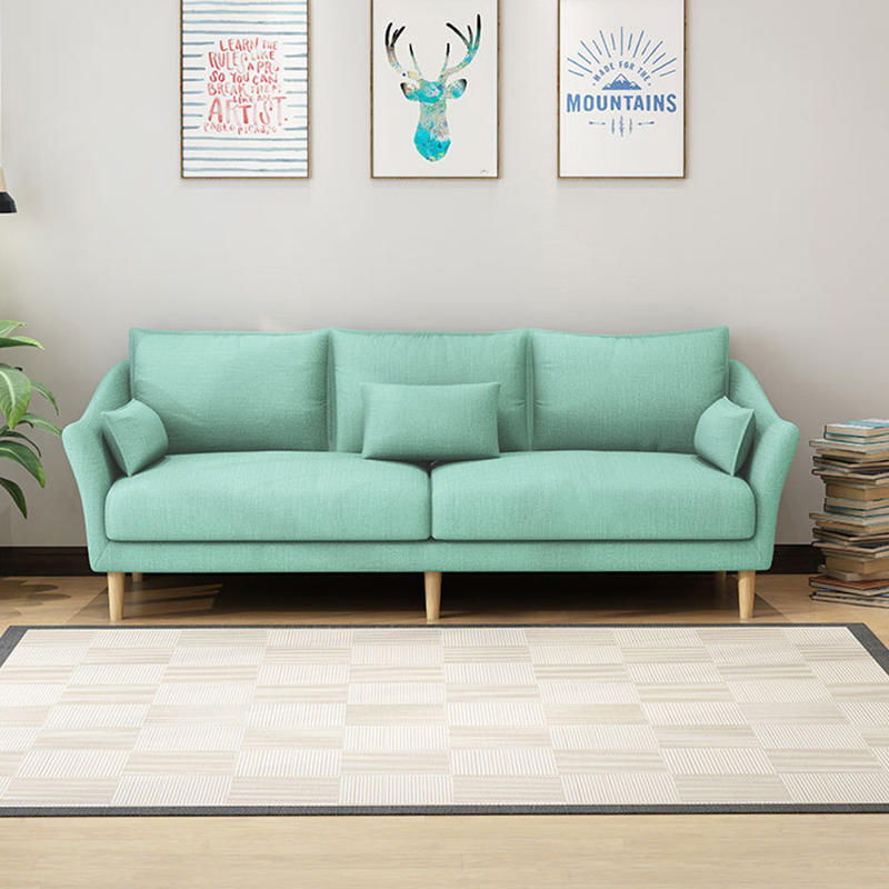 2020 Simple Design Living Room Funiture Rubber Wood Solid Wooden Frame Fabric 3 2 1 Seat Sofa Home Grey Wood Base Sofa Couch new