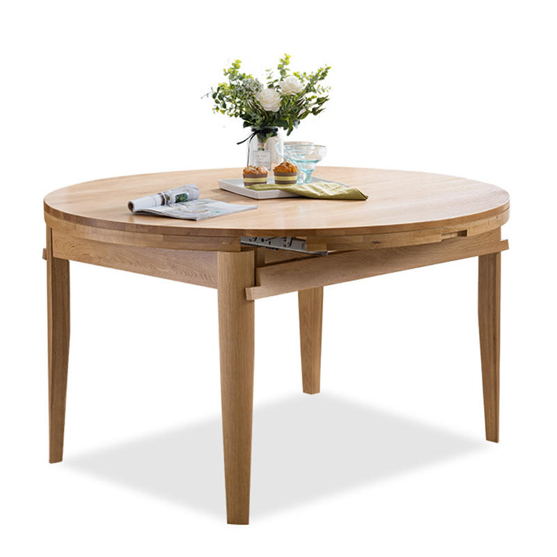 Furniture High quality Modern style solid wood Oak Extendable Muti-Functiomal Round Dining Table