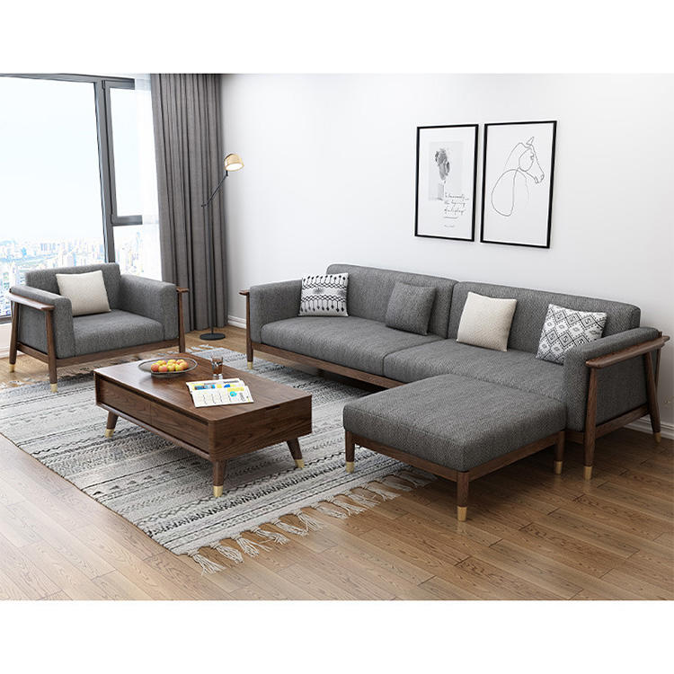 Hot sale morden custom 3 seat solid wooden sectional sofa set with fabric cover and brass feet for lining room furniture