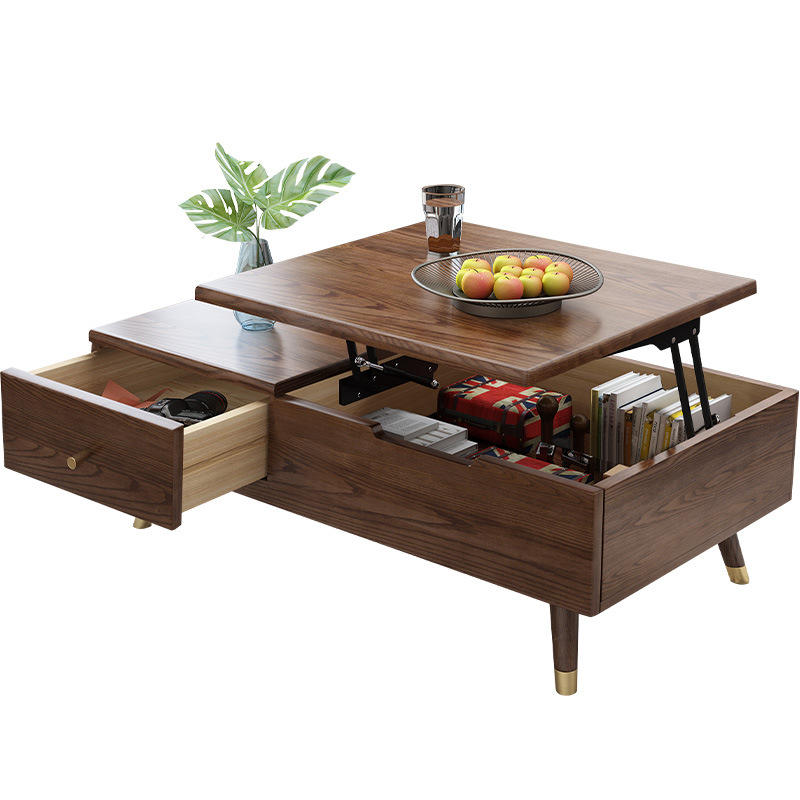 Modern solid ash wooden folding table for tea gold metal feet lift wood coffee table living room furniture made in China