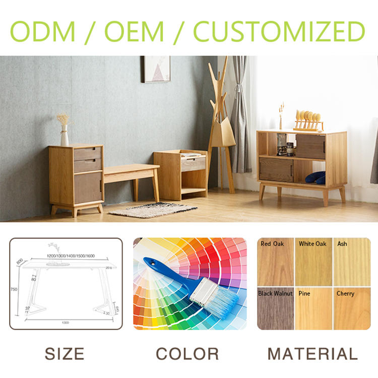2020 nordic style wooden furniture coffee table wood top table for living room true wood tea table drawers and metal feet design