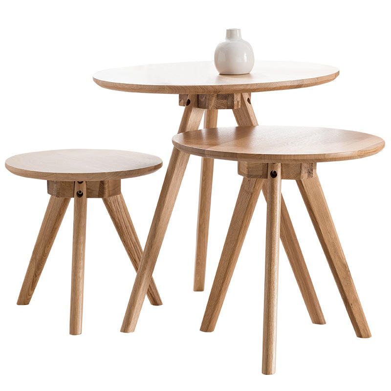 Luxury modern living room nested coffee table wood portable small wooden corner table set round nesting tea table for sofa side