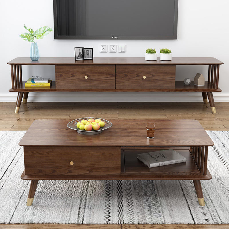 Customizable Hot Sale Creative Furniture Modern Walnut Color Square simple design solid wood coffee table