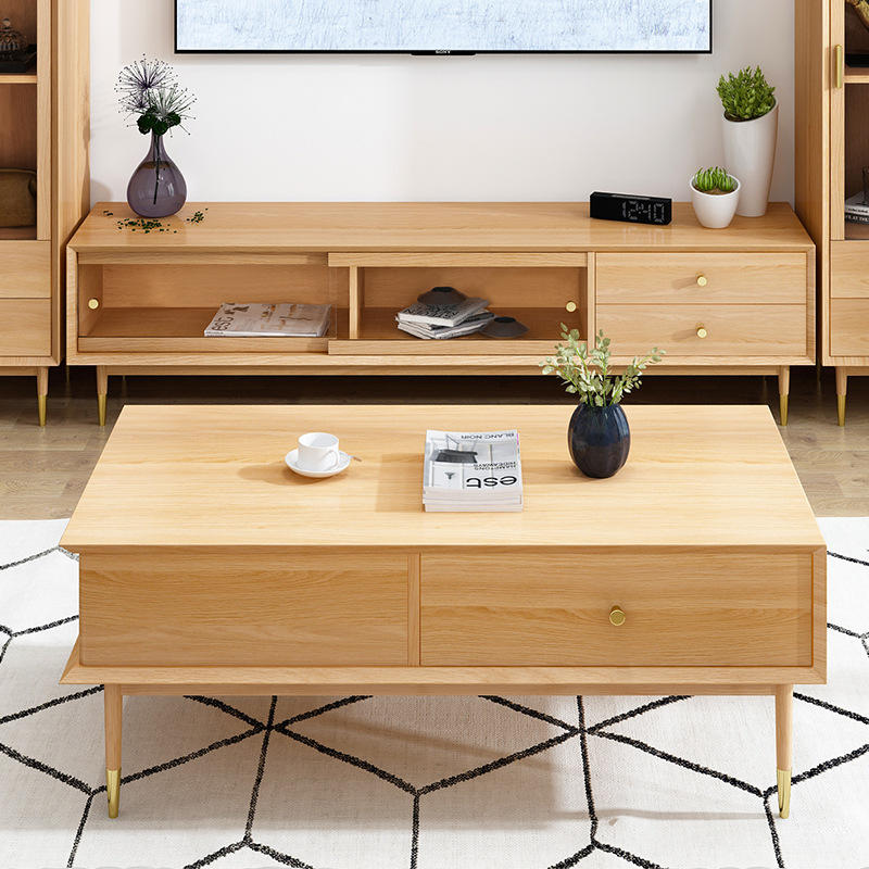 2020 newest modern simple style Competitive Price High quality elegant oak coffee table for living room